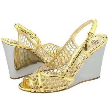 Juicy Couture Peep Toe Gold Mesh Wedge Sandals 8 1/2