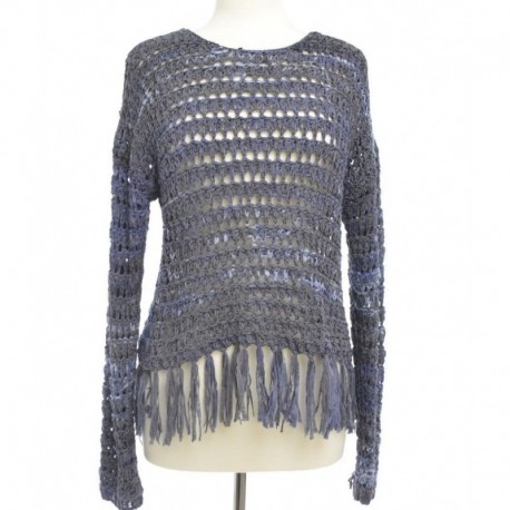 INC International Concepts Scoop-Neck Fringed Sweater Deep Twilight Size XL