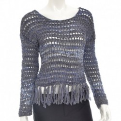Inc International Concepts Scoop Neck Fringed Sweater Deep Twilight Size M