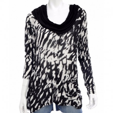 Kensie Long Sleeve Cowl Neck Printed String Combo Size L