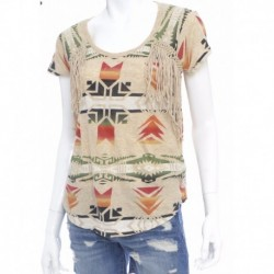 Ralph Lauren Fringed Scoopneck Tee-MULTI-COLOURED Size XS