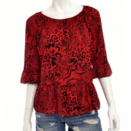 Kensie Animal-Swirl Printed Top Size M