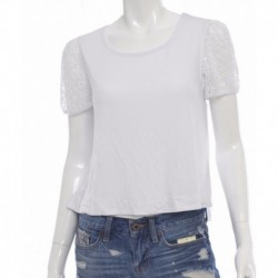 Kensie Mesh-detail French Terry Top White Size S
