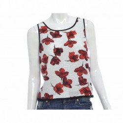 Kensie Sleeveless Floral-print Top Red Pop Combo Size M
