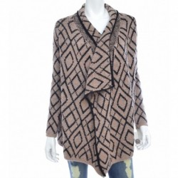 Bar Iii High-Low Graphic-Knit Cardigan Size S