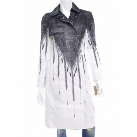 Rachel Roy Notched-lapel Printed Trench C White Combo Size XS