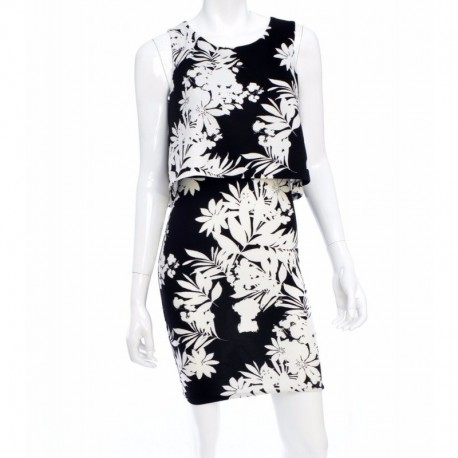 Bar Iii Floral-print Popover Dress Black Combo Size M