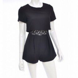 Bar Iii Short-Sleeve Lace-Inset Layered-Look Romper Size S