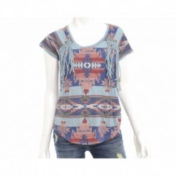 Ralph Lauren Southwestern-Print Fringed Tee Size XS