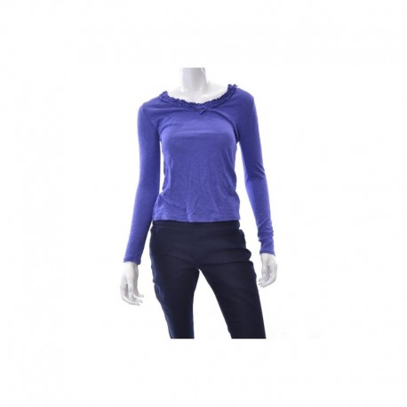 INC TOP, LONG-SLEEVE V-NECK RUFFLE MUTED VIOLET XSize S