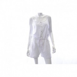 TOMMY HILFIGER White Eyelet Romper Drawstring Front Button Size S