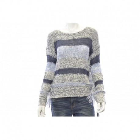 INC Colorblocked Fringe Sweater Size L