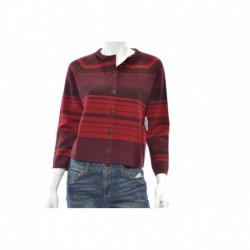 Anne Klein Cropped Striped Cardigan Sweat Troubadour Red Size M