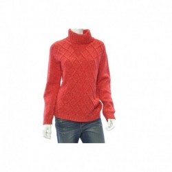 Anne Klein Cable Knit Turtleneck Sweater, Vibrant Red Size M