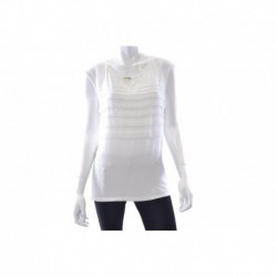 Calvin Klein Cap-Sleeve Pleated Keyhole Top White Size XL