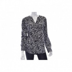 Calvin Klein Collection Long Sleeve Printed Blouse Black Peak Size S