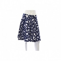 Inc Navy White Floral Print Pleated A Line Skirt Size L