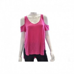 Guess Cold-shoulder Short-sleeve Top Jealous Pink Size XL