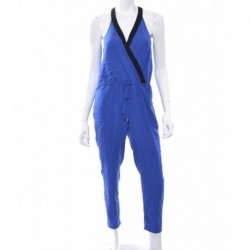 Bar III Tapered Contrast-Trim Jumpsuit Blue Lazulite Size S
