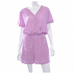 Bar III Short-Sleeve Printed Romper Berry Frost Combo Size M