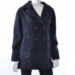 Wildflower Double-Breasted Wool-Blend Pea Black Watch Plaid Size S