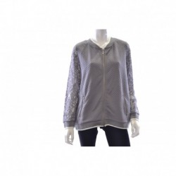 kensie Quilted Lace-Sleeve Bomber Jacket Stone Combo X  Size L