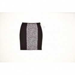 Calvin Klein Animal-Print Pencil Skirt Black Eggshell Size M